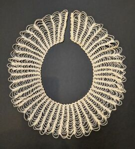 Antique Victorian Handmade Crocheted Spider Web Lace Collar 19 X 3 Wide 2