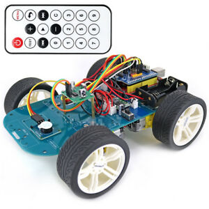Multi Angle Ir Remote Control Smart Car Kit 4 Wheel Drive Uno R3 For Arduino
