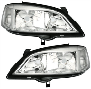 Chrome Clear Finish Halogen Headlights Front Lights Set For Opel Astra G 98 05