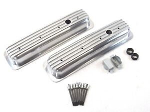 Sbc Chevy 350 Center Bolt Short Aluminum Finned Valve Cover Polished Bpe 2027