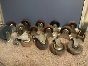 Vintage 4 6 Medium Heavy Duty Industrial Commercial Caster Wheels Mix Lot 15