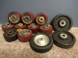 Good Vintage 4 Large Heavy Duty Industrial Commercial Caster Wheels Lot Of 12