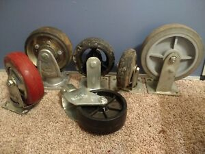 Vintage 6 8 Large Heavy Duty Industrial Commercial Caster Wheels Mix Lot 6