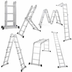 12 5ft Multi Purpose Folding Step Ladder Platform Extendable Scaffold Ladder En1