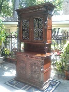 Carved Stained Glass Bookcase Gothic Victorian Cabinet