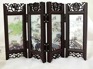 Chinese Mini Glass Screen 4 Folds Table Display Great Wall China Brush Painting