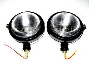 Ford Tractor Head Light Set 12 V Black lh Rh With 12 V Bulbs