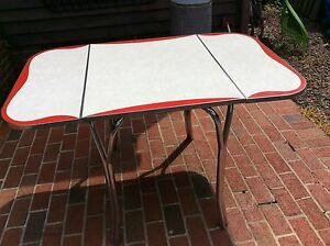 Vintage Mid Century Red White Chrome Formica Top Expandable Kitchen Table