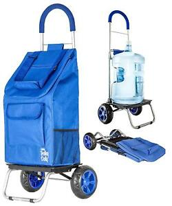 Trolley Dolly Foldable Shopping Grocery Cart For Heavy Duty Groceries blue