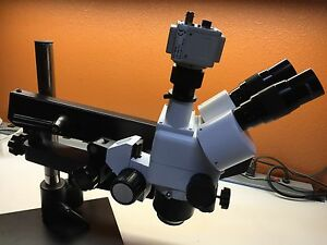 Xts Trinocular Stereo Zoom Microscope On Flexible Arm Stand W Dsp Camera