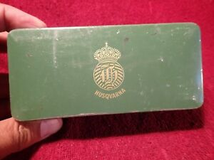 1920 S Antique Sewing Machine Husqvarna Tools Tin Box Green Sweden Swedish