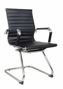 Classic Replica Visitors Chair In Black Pu Leather Chrome Arms With Protective