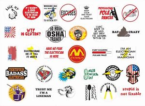 ELECTRICIAN Lineman Hard Hat Stickers Decal Funny Crude Rude LOT of 30 FREE SHIP