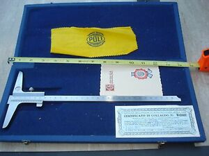 Vtg Italy Machinist Caliper Depth Gauge 0 30 Cm Garanzia Poli Inox
