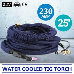 25 Wp 20 Water Cooled Tig Torch 230amp 7 L min 0 1 0 3mpa Miller 330a bp Good
