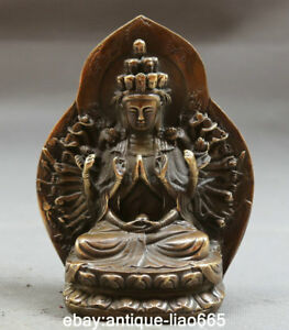 5 9 Antique Chinese Bronze Sit 1000 Arms Avalokiteshvara Kwan Yin Goddess Statue