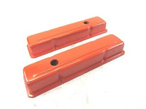 Sbc Small Block Chevy 283 327 350 383 Short Valve Cover Steel Orange Bpe 2406r