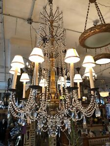 Huge 65 Gilt Four Tiered 10 Light Crystal Beaded Chandelier Hollywood Regency
