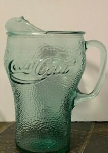 COKE Coca-Cola ~ Glass Pitcher & Two (2) Large Matching Glasses