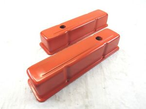 Small Block Chevy 283 327 350 383 Tall Valve Cover Steel Orange Bpe 2407r