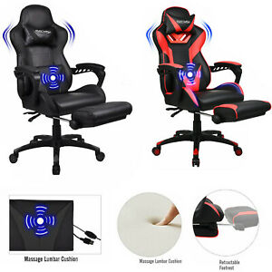 Office Chair Ribbed Gaming Chair Racing Swivel Ergonomic Computer Desk Task Seat