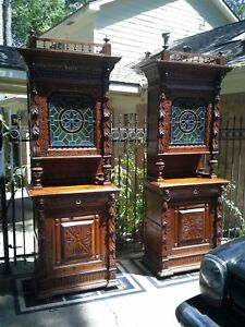 Gothic Carved Victorian Tiffany Style Stained Glass Hutch Bookcase Cabinet