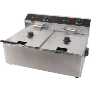 5000w Electric Countertop Deep Fryer Commercial Restaurant Dual Tank Steel 11l