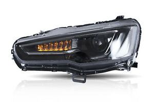 Led Headlight For Mitsubishi Lancer Evo X 2008 2017 Drl All Black Set Audi Look