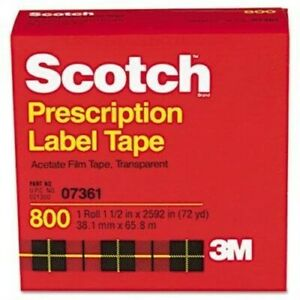 Scotch Transparent Acetate Film Tape 1 1 2 X 2592 Inch 72 Yard pack Of 3