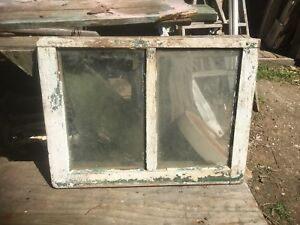 Vtg Rare Small Farm Country 23 X 17 5 Pane Wood Window Sash Cottage Shabby White
