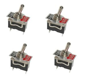 4 Spst On off Toggle Switches With 0 25 Terminals 15amp 1 2 Mount