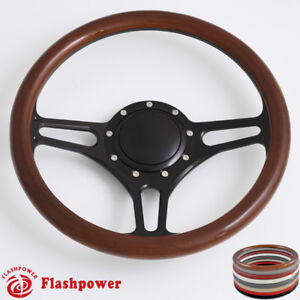 14 Billet Steering Wheel Wood Full Wrap For Ford Gm Corvair Impala Chevy Ii