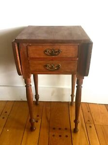 Primitive Early American Antique 2 Drawer Side Table Drop Sides