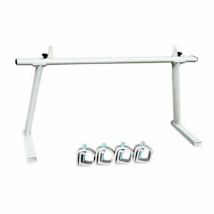 Extendable Aluminum Single Bar Pick Up Truck Ladder Rack No Drilling White