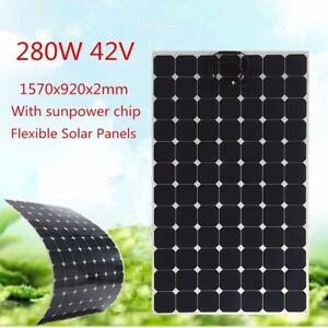 280w Watt 42v Sunpower Solar Panel Flexible Off Grid W 1 5m Cable For Rv Boat