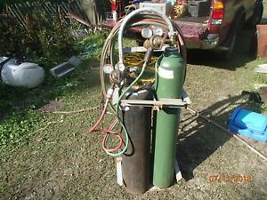 Oxygen Acetylene Cutting Torch Set Full Tanks Harris 9200 Gauges