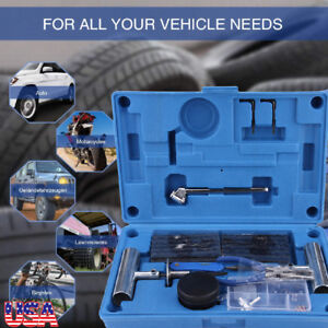 67 Piece Heavy Duty Tire Repair Kit Gloves Universal Tubeless Flat Tire Plug Kit