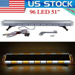 96 Led 51 Light Bar Emergency Beacon Warn Tow Truck Response Strobe Amber white