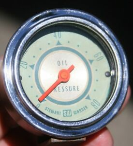 Vintage Stewart Warner 2 1 16 Brass Twin Blue Center Pivot Oil Pressure Gauge