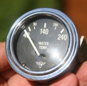 Vintage Stewart Warner Wing Wings Water Temperature 6v Gauge Curved Glass