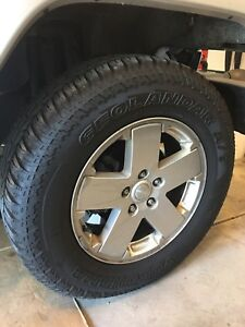 Jeep Wrangler Wheels Tires Geolandar A T 255 70r18 With Tpms Sensors Set Of 5