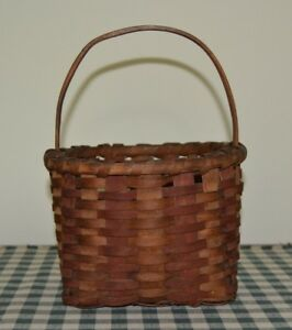 Antique Small Splint Basket With Original Red Stain Paint