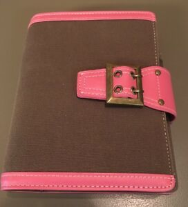 Franklin Covey 365 Compact 6 1 Rings Brown Canvas pink Trim Planner binder Vgc