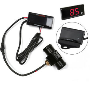 Red Led Race Water Temperature Gauge Mount Kit 22mm Connector For Motorcycle