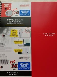 Five Star College Ruled Notebook 170 Sheets Red Cover
