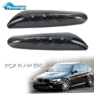 2x Led Side Marker Lights For Bmw E82 E88 E60 E61 E90 E91 E92 Turn Signals Black