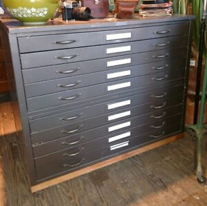 Reclaimed Vintage Hamilton Industrial Flat File Cabinet 35 5 X 41 X 29