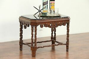 Black Marble Top 1920 S Antique Walnut Carved Coffee Or Cocktail Table 29155