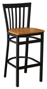 New Gladiator Full Vertical Back Metal Restaurant Bar Stool With Natural Seat
