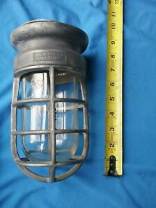 Vtg Crouse Hinds Explosion Proof Wall Ceiling Light Fixture Industrial Cage